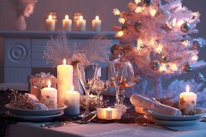 stylish christmas table decoration in white